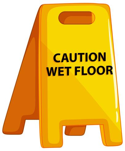 Attention sol humide signe sur fond blanc