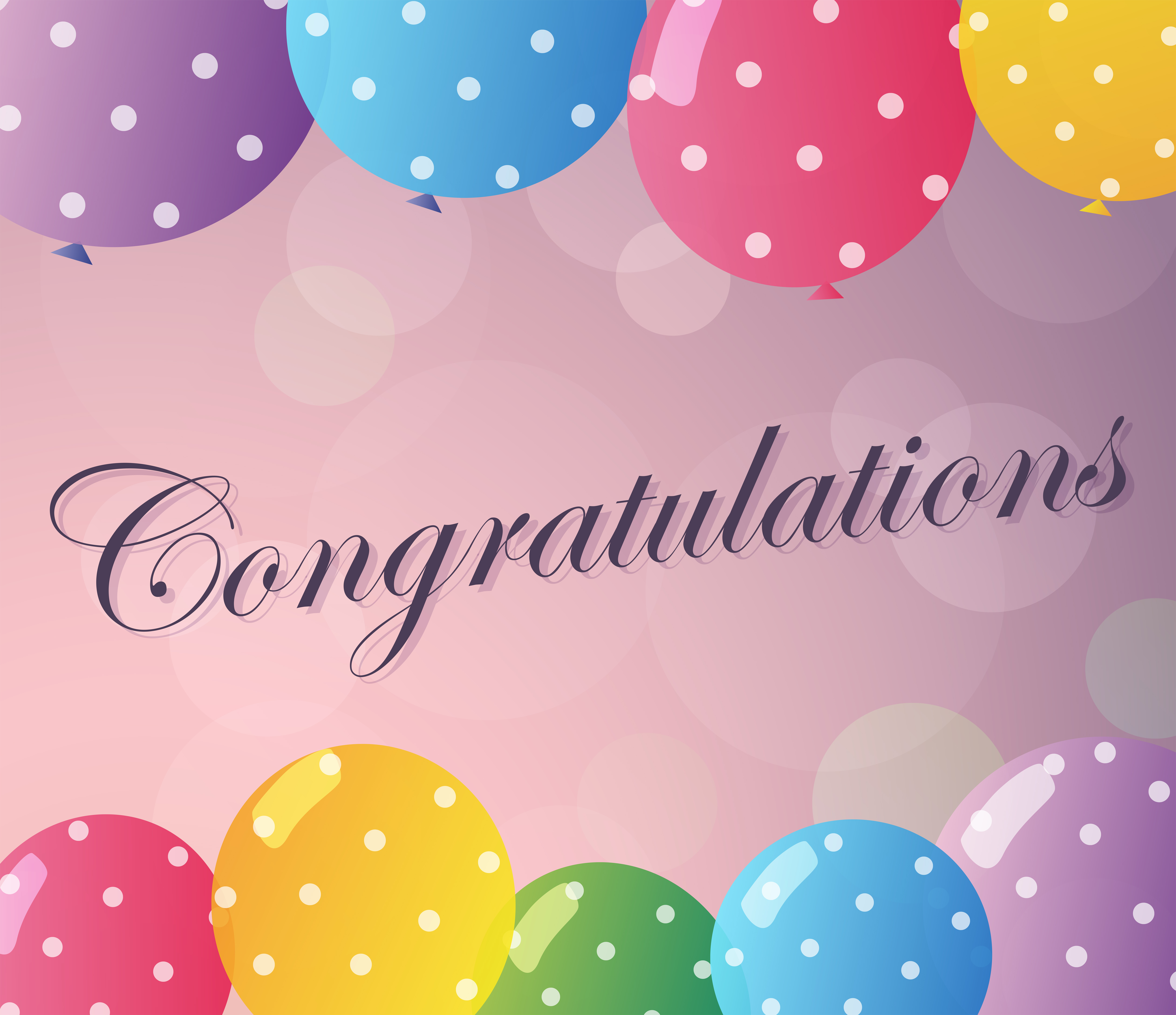 Congratulations card template with colorful balloons ...