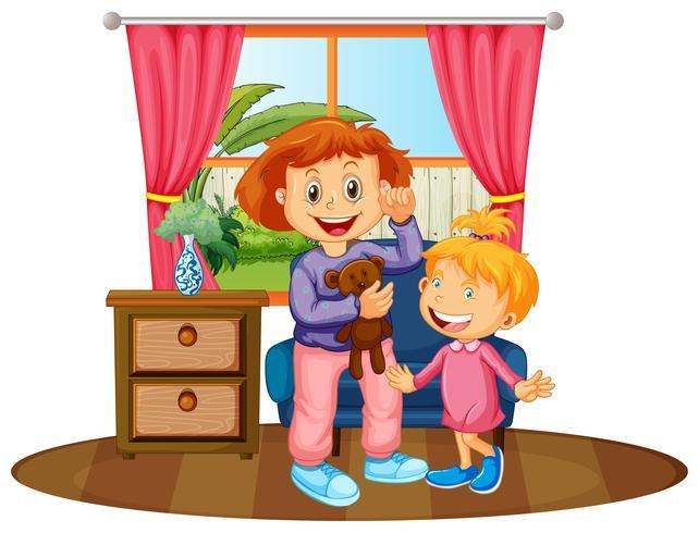 Twee kinderen in huis