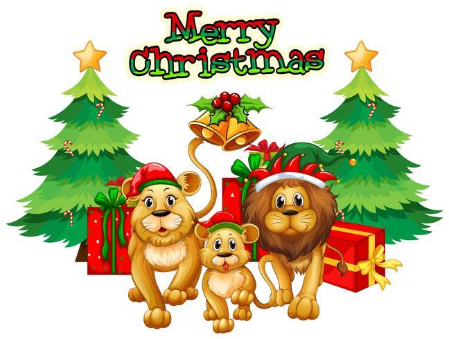 Weihnachtsthema mit Löwen und Bäumen
