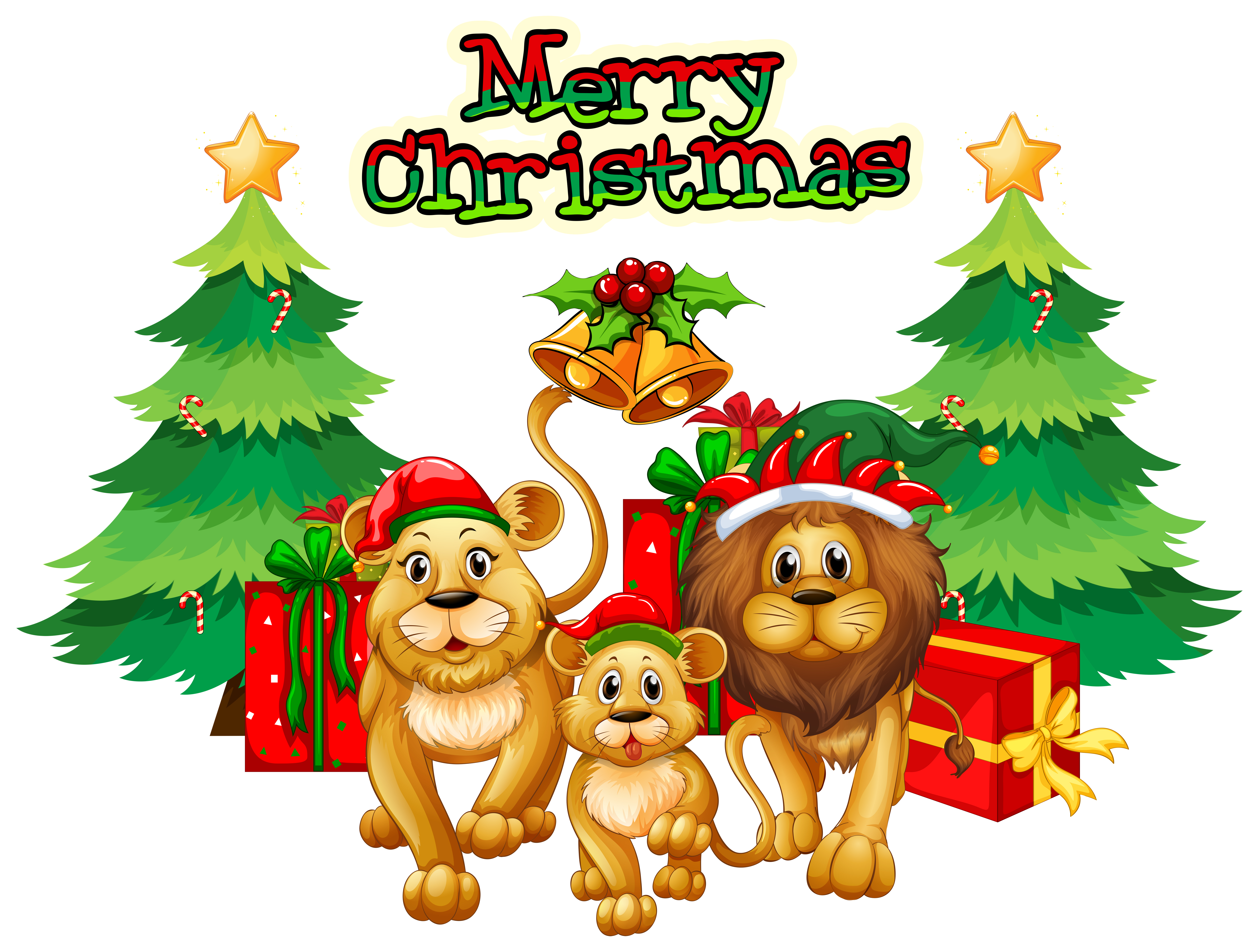 Christmas Theme With Lions And Trees