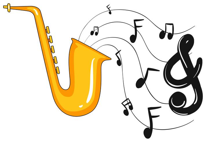 Saxofone com notas musicais no fundo