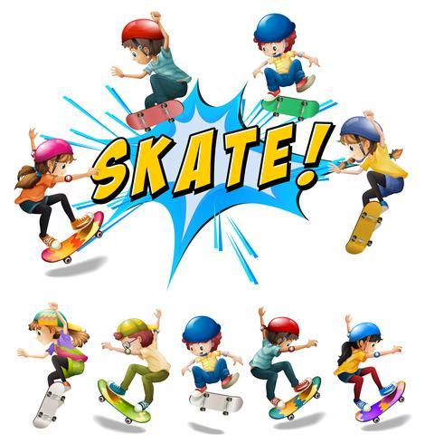 Muitas crianças brincando de skate