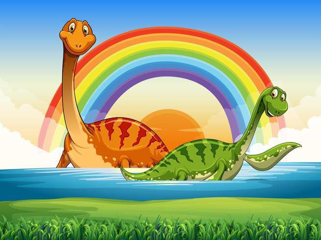 Zwei Dinosaurier im See schwimmen