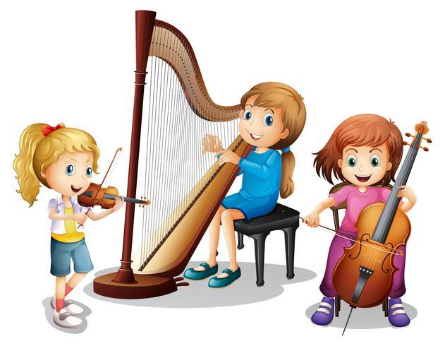 Tres chicas tocando musica