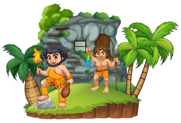 Zwei Höhlenmenschen im felsigen Haus