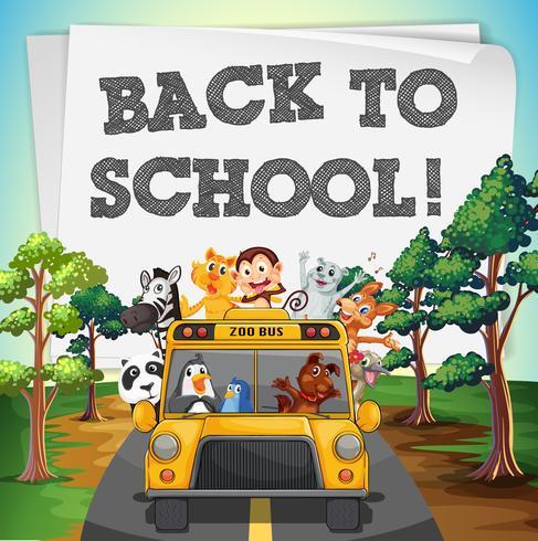 Terug naar schoolthema met dieren op bus