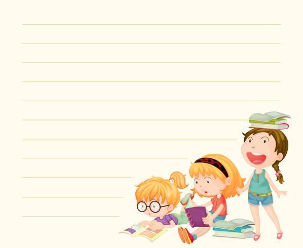 Modello di linea di carta con ragazze che leggono libri