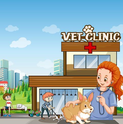 Tierklinik mit Haustieren und Tierarzt
