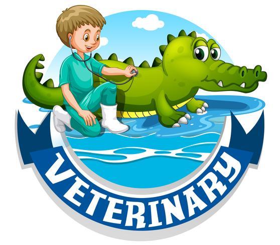 Signo veterinario con veterinario y cocodrilo. vector