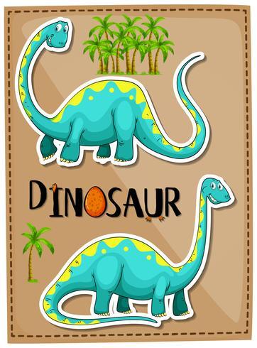 Blauwe brachiosaurus op poster vector