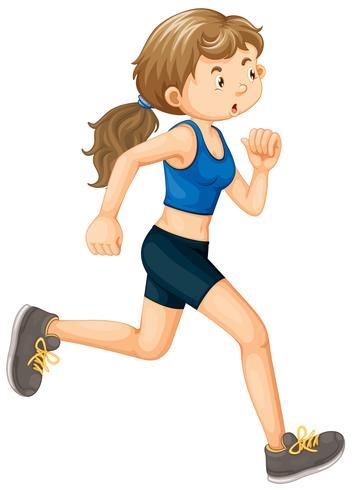 En Kvinna Running On White Background