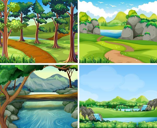 Quattro scene con fiume e albero