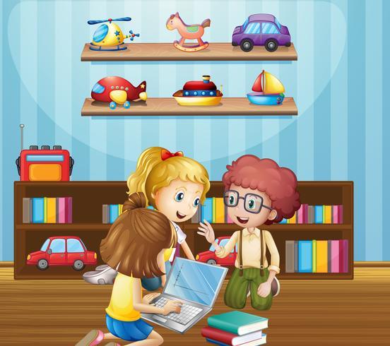 Bambini che lavorano in gruppo a casa