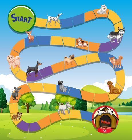 Plantilla de juego con muchos perros lindos en el parque