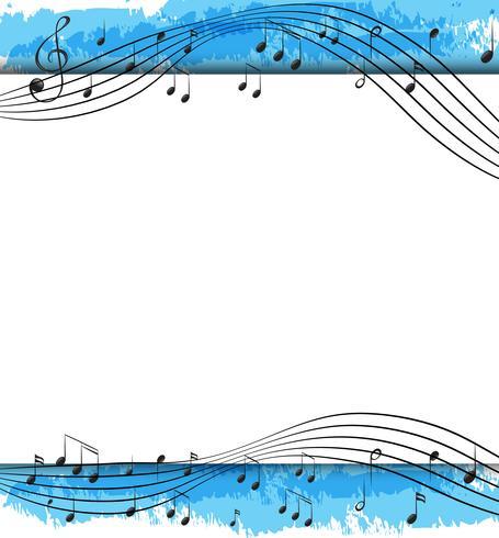 Diseño de fondo con notas musicales en escalas.