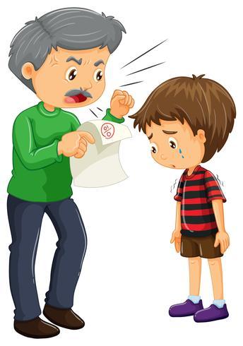 Boze vader en jongen met slechte cijfers op papier