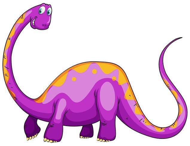 Dinosaurio morado con cuello largo.