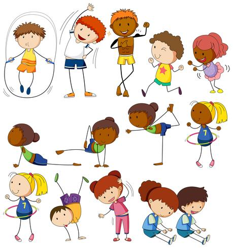 Children and people doing different exercises