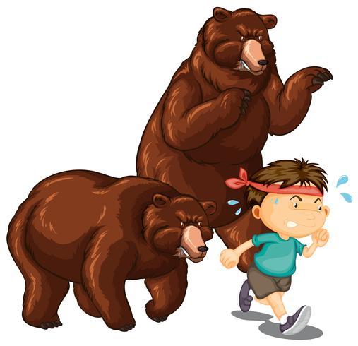 Twee beren achter kleine jongen aan vector