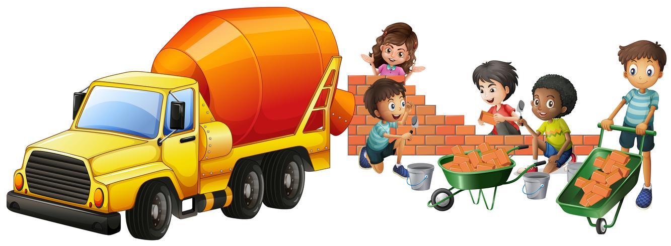 Betonmischer-LKW und Kinder, die Ziegelsteine legen