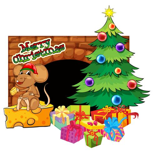 Julkortsmall med julgran och presenter