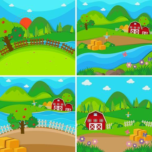 Cuatro escenas de granja con graneros y manzanos.
