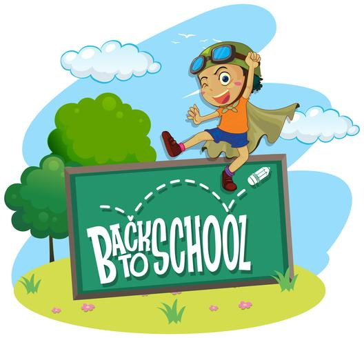 Back to school theme with boy jumping