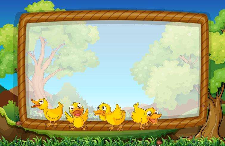 Frame template with four ducks in the park