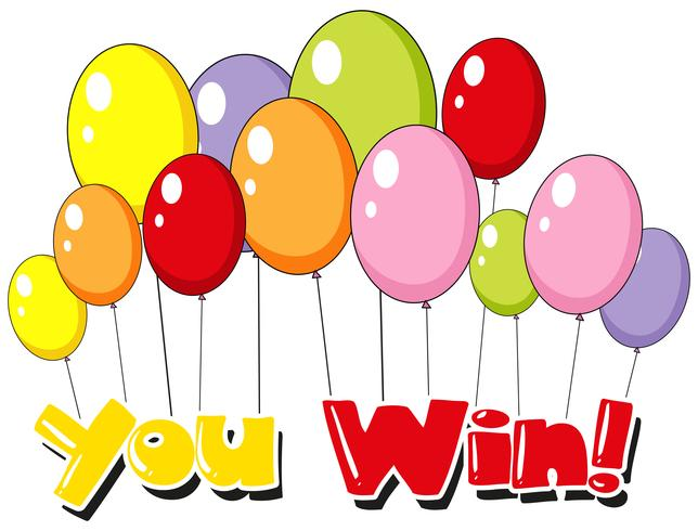Lettertype ontwerp voor u wint met ballonnen achtergrond