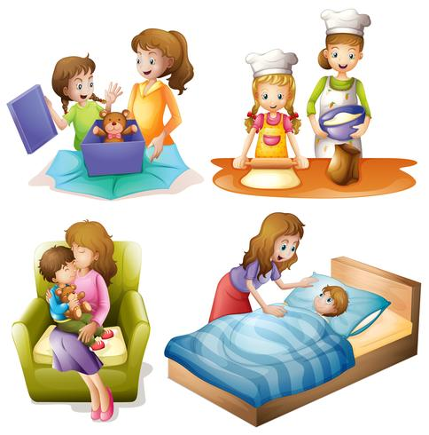 Mother and child doing different activities