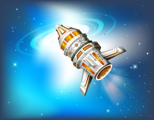 Spaceship flying in galaxy