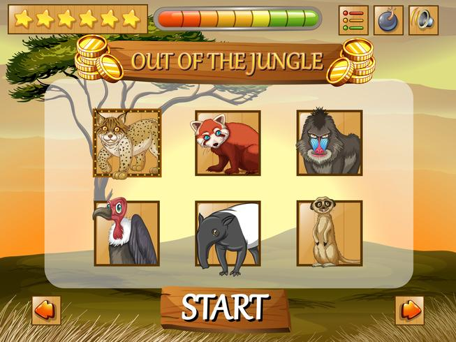 Game template with wild animals in the field