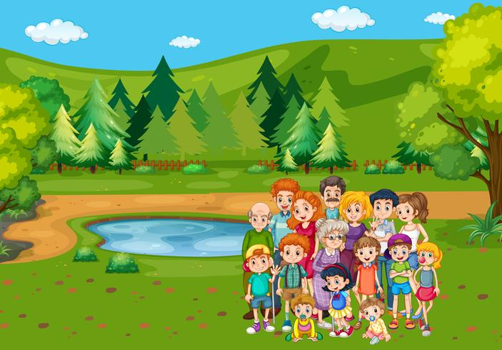 Familjemedlemmar i parken
