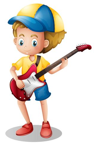 Jongen die elektronische gitaar speelt