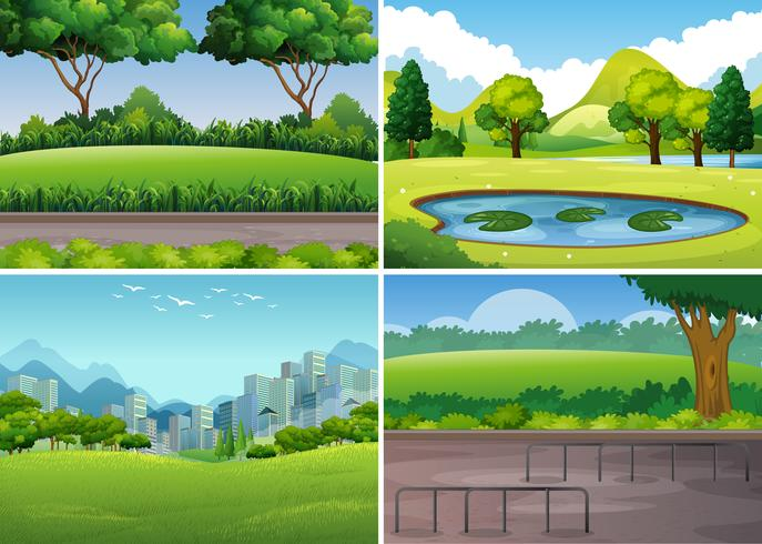 Four park scenes with trees and field