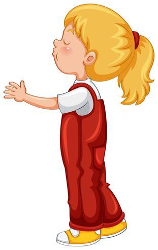 Liten tjej i röd overall outfit