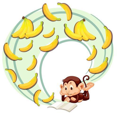 Singe lisant sur la banane