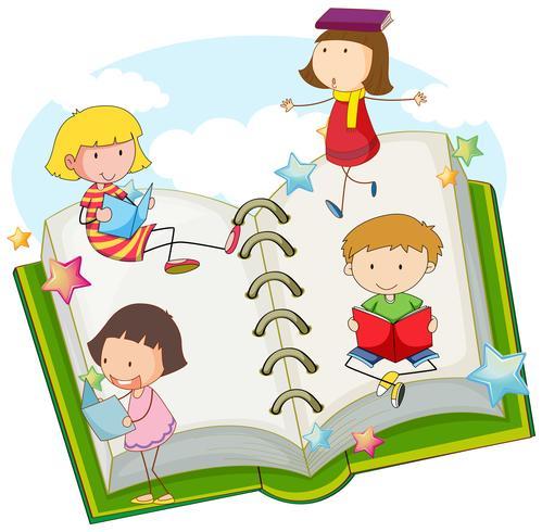 Bambini che leggono libri insieme
