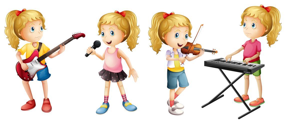 Vier meisjes spelende muziekinstrumenten