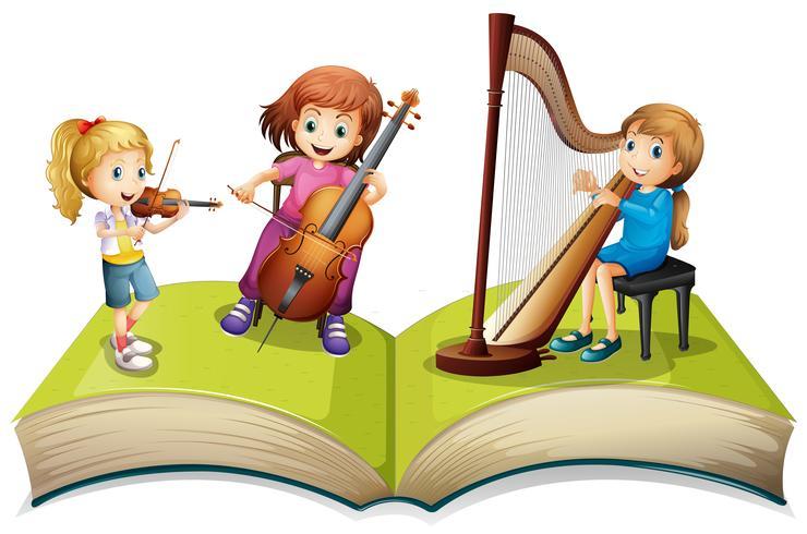 Enfants jouant de la musique sur un livre pour enfants vecteur