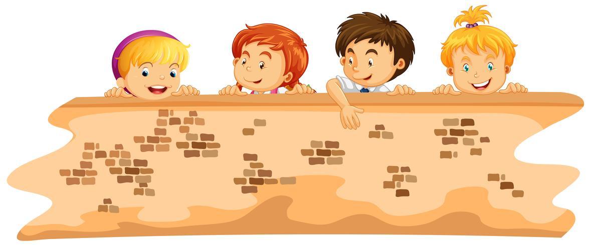 Niños y niñas detrás de la pared
