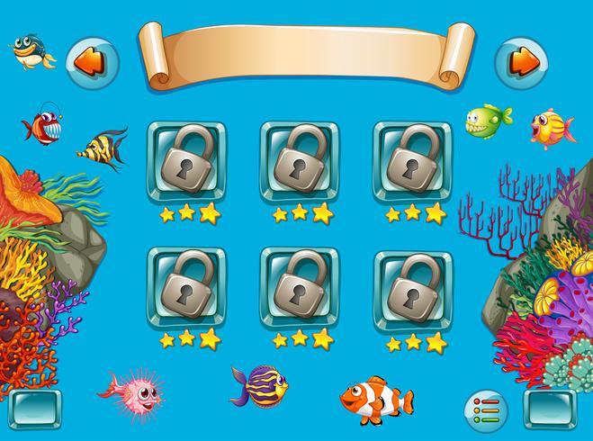 Spielvorlage mit Meer unter Wasser schwimmen