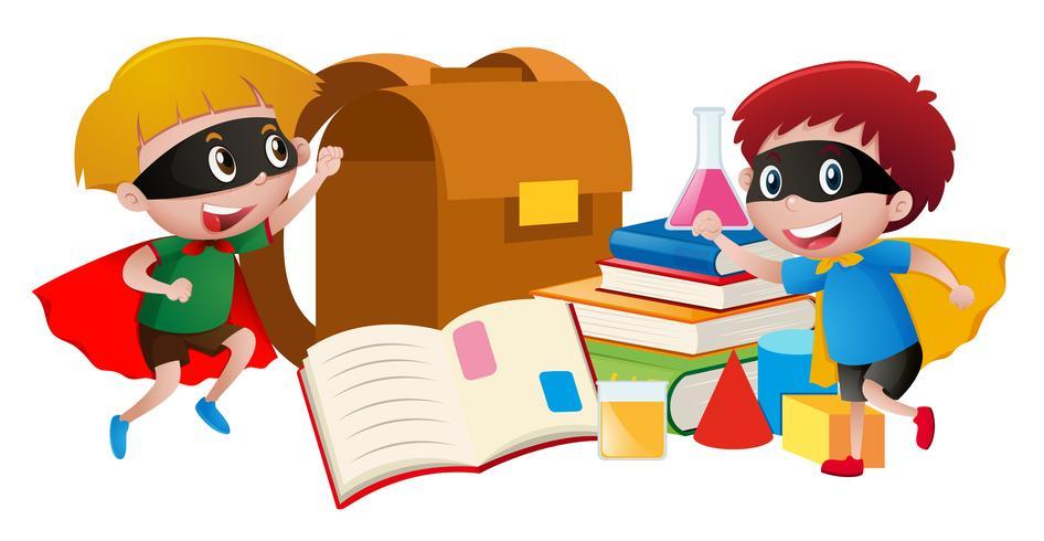 Dois meninos, em, herói, traje, leitura, livros