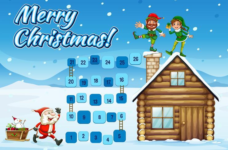 Modello di gioco da tavolo con Babbo Natale ed elfi