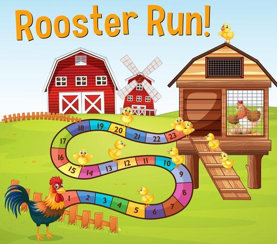 Brettspielvorlage mit Hühnern im Bauernhof