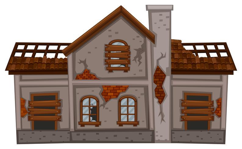 Vieille maison en brique en mauvais état
