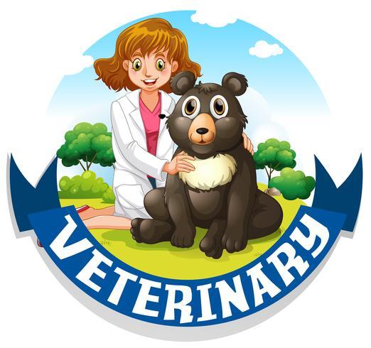Letrero veterinario con veterinario y oso.