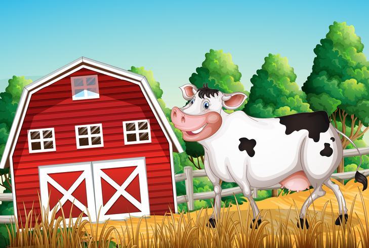 Cow at the farmland vector