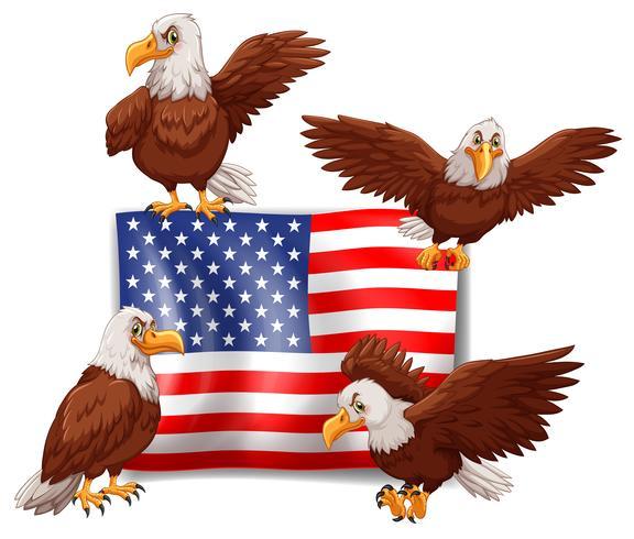 Amerikaanse vlag en vier adelaars